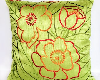 Light Lime green floral pillow. Decorative cushion cover Red and orange  floral  Cushion Cover. Floral  embroidered sammer pillow 18 inch