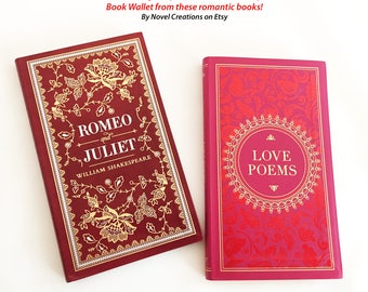 Valentine Book Cover Wallet - Romeo and Juliet - Literary Gift - Love Poems Gift - Valentine Gift for Her - Book Lover Gift