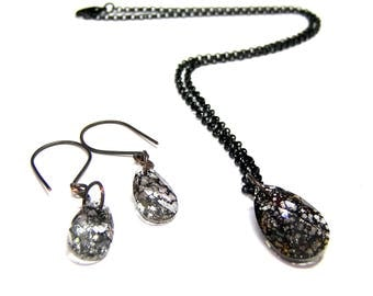 ON SALE Crystal Earring Pendant Set Swarovski Black Patina Jewelry Set Crystal Jewelry Set Crystal Earring Crystal Pendant Gifts for Women