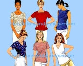 Simplicity 8061 8523 Womens Pullover Tops Shirt Blouse Size 8 10 12 or Plus Size 16 18 20 22 24 Six Easy Styles Sewing Pattern Uncut FF
