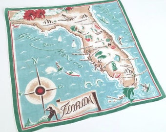Vintage Florida handkerchief 1950s hankie mermaid flamingo airplane map mid century kitsch Floridiana souvenir