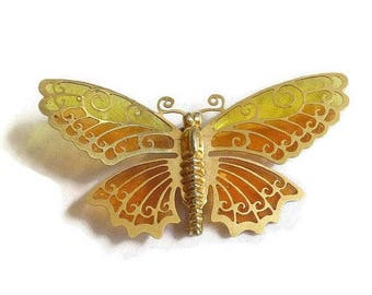 SALE Plique a Jour Orange and Yellow Enamel Butterfly Brooch Vintage signed Avon