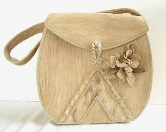 SALE Genuine Bark Handbag Purse with Flowers Vintage Island Style