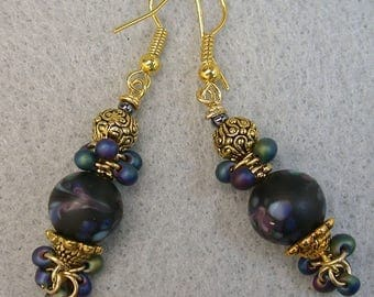 Vintage Japanese Millefiori Black Purple Glass Bead Dangle Earring, Japanese CLUSTER BEAD Miyuki Iridescent Dangle Seed Beads,Gold Ear Wires