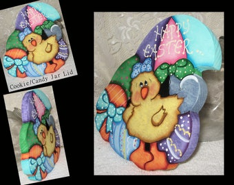 Chick cookie jar etsy easter decor easter cookie lidcookie lidcandy jar lidpainted wood negle Image collections