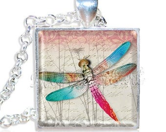 """25% OFF - Pretty Colorful Dragonfly 1"""" Square Glass Pendant or with Necklace - SQ137"""