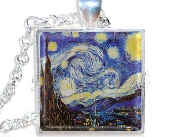 """25% OFF - Van Gogh's Starry Night 1"""" Square Glass Pendant or with Necklace - SQ121"""