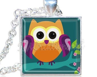 "20% OFF - Whimsical Tree Owl 1"" Square Glass Pendant or with Necklace - SQ192"