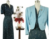 Vintage 1950s Dress Set - Smart Printed 50s Matching Dress Ensemble in Navy with Sky Blue Jacket