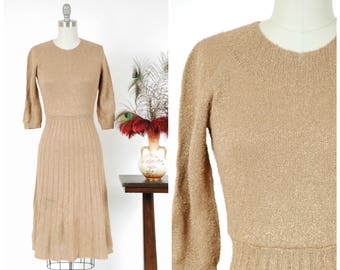 Vintage 1950s Sweater Dress - Shimmering Brown and Gold Boucle Knit Pullover 50s Day Dress with Metallic Gold Lurex Throughout
