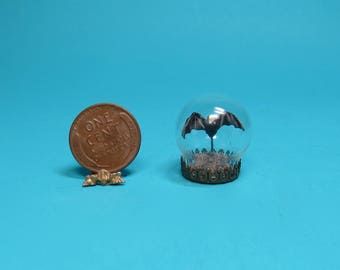 Collector Miniature 1:12 Scale  BAT in a Display Globe. OOAK, Haunted, Witch, Halloween