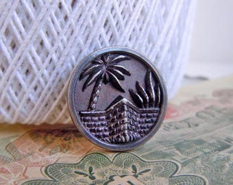 Vintage Metal Palm Trees and Brick Wall Picture Sewing Button