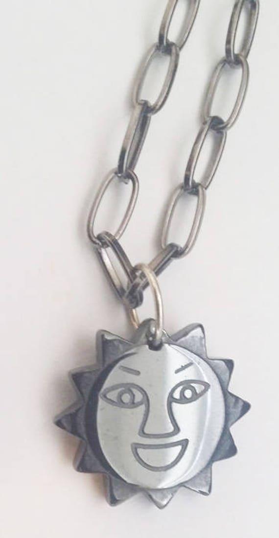 black sun face necklace stone pendant necklace black chain goth unisex handmade mens womens jewelry
