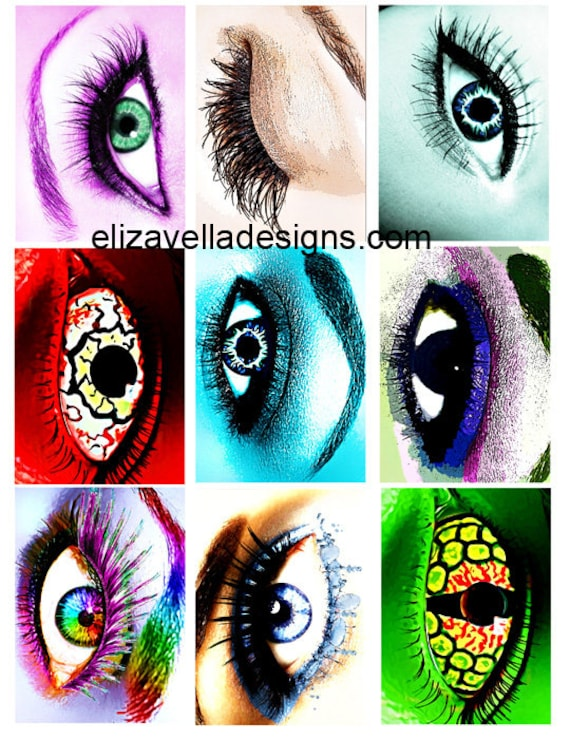 "womans eyes creature monster alien eyes printable art clipart 2.5"" x 3.5"" collage sheet clip art digital download graphics images"