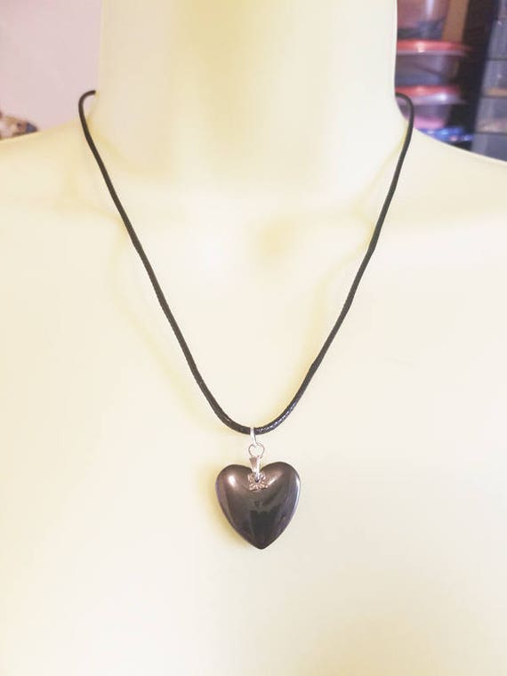 black heart stone cord necklace heart pendant hematite gemstone heart necklace handmade goth jewelry