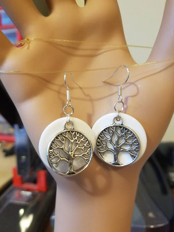 Silver tree branches earrings white circle earrings drop dangles charms handmade tree jewelry