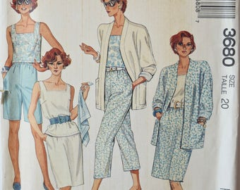 Vintage 1980's Sewing Pattern McCalls 3680 Misses' Separates Unlined Jacket Top Skirts Pants and Shorts UNCUT Factory Folds Size 20 Bust 42""