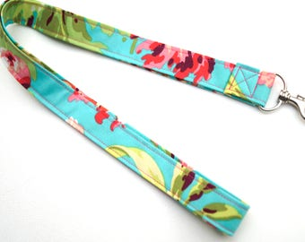Floral Lanyard or ID Badge Holder in Pink and Blue Cotton Fabric
