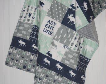 baby quilt-baby boy quilt-minky baby quilt- navy baby quilt- moose baby blanket- woodland baby quilt- arrow baby quilt- baby boy bedding
