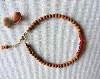 Sandalwood & carnelian gemstone bracelet - summer stacking bracelet - layering bracelet - carnelian bracelet