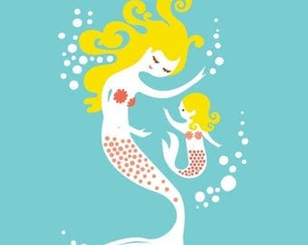 """SUMMER SALE 8X10"""" mermaid mother & daughter giclee print on fine art paper. teal, pink, coral, blonde."""