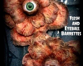 Hair Barrette: Dead Girl Massacre Decay - Bloody Flesh and Eyeball Flower Horror Handmade Accessory