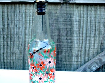 Dish Soap Dispenser,  Recycled Clear Glass Bottle, Painted Glass, Oil and Vinegar Bottle, Shades of Orange Flowers, and a Dragonfly