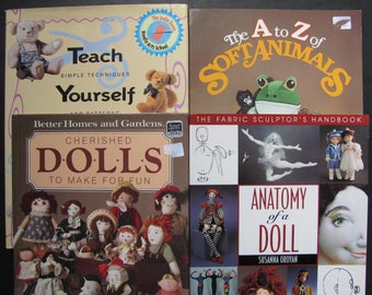 SALE 4 Toy Making Vintage Books, Soft Animals, Teddy Bears, Dolls Making, Toy Crafts