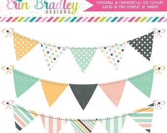 50% OFF SALE Beach Days Bunting Clipart Set Digital Banner Flag Clip Art Graphics Personal & Commercial Use