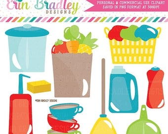 80% OFF SALE Household Clipart Trash Garbage Vacuum Dishes Laundry Grocery Shopping Chore Clip Art Graphics Commercial Use OK