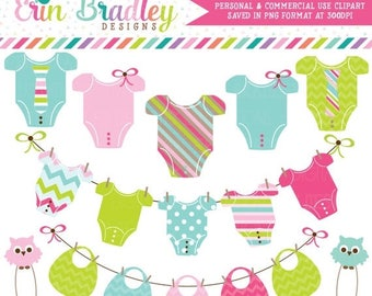 80% OFF SALE Baby Digital Clipart Graphics Personal & Commercial Use Clip Art Set with Baby Tees Bibs Clothespins and Bunting
