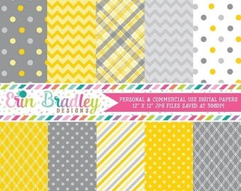 80% OFF SALE Digital Scrapbook Papers Personal and Commercial Use Yellow and Grey Medley