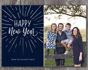 New Year Burst - Digital or Printed Custom New Year's Photo Card, any color