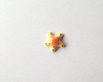 Miniature Ceramic Starfish, yellow, light blue, mini, small, tiny, little, miniature, ceramic animal, tiny animal, decoration, mini animal