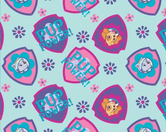 Children's Fabric, Paw Patrol Light Blue Pup Power Cotton Fabric 44-45 inches wide