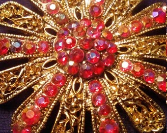 Vintage Brooch Gold Tone and Red Pink Glass Stones