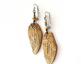 primitive earrings, sterling silver, ceramic beads, tribal jewelry, boho earrings,primitive jewelry, cave painting, bohemian earrings