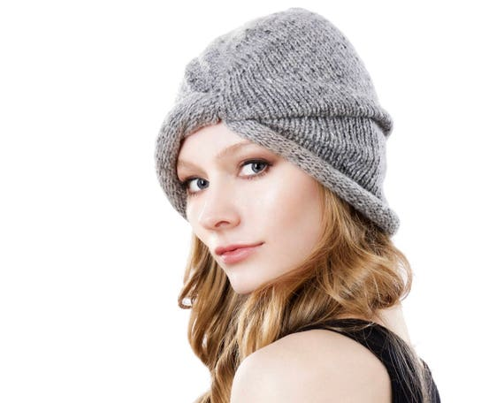 Women's Winter Hat Grey Handknit Cashmere Slouchy Beanie Knit Turban Fall Fashion Winter Accessories Womens Winter Hat Warm Hat Gift For Her