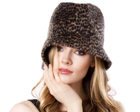 Cloche Hat Women Animal Pattern Spring Fashion Winter Accessories Leopard Cheetah Fall Accessories Fedora Hat Felt Hat Crushable Packable
