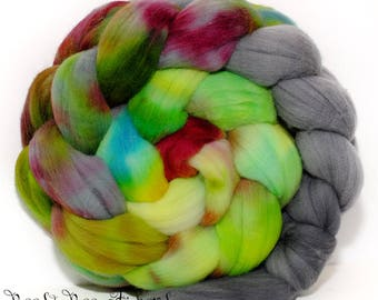 TOUCANET - French Rambouillet Hand Dyed Hand Painted Combed Top Wool Roving Spinning Felting fiber - 4.2 oz
