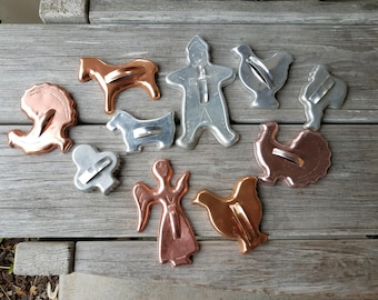 Set of Vintage Copper and Aluminum Cookie Cutters
