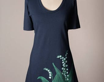 SUMMER SALE lily-of-the-valley dress, lily of the valley dress, t-shirt dress, navy blue cotton dress