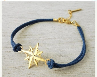 On Sale 40% off, Nautical Compass Bracelet, friendship bracelet, charm bracelet, nautical jewelry