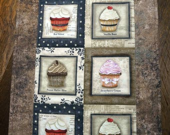 Cupcakes Table Runner Reverses to Christmas Rocking Horses, Teddy Bears and more