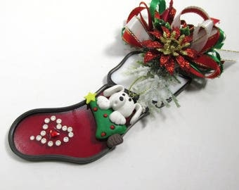Doggy, Christmas Tree and Heart Christmas Stocking Decorated Stained Glass Ornament