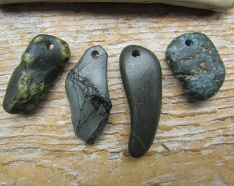 Rustic Natural STONE Pendants Top Drilled Stones Lake Stone Charms 3mm