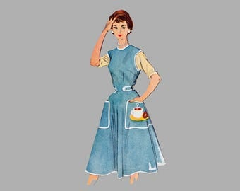 1950's Misses' Wrap-Around Apron Pattern McCall's 1948 With transfer for Coffee and Donuts Applique Bust 32 - 34 inches UnCuT
