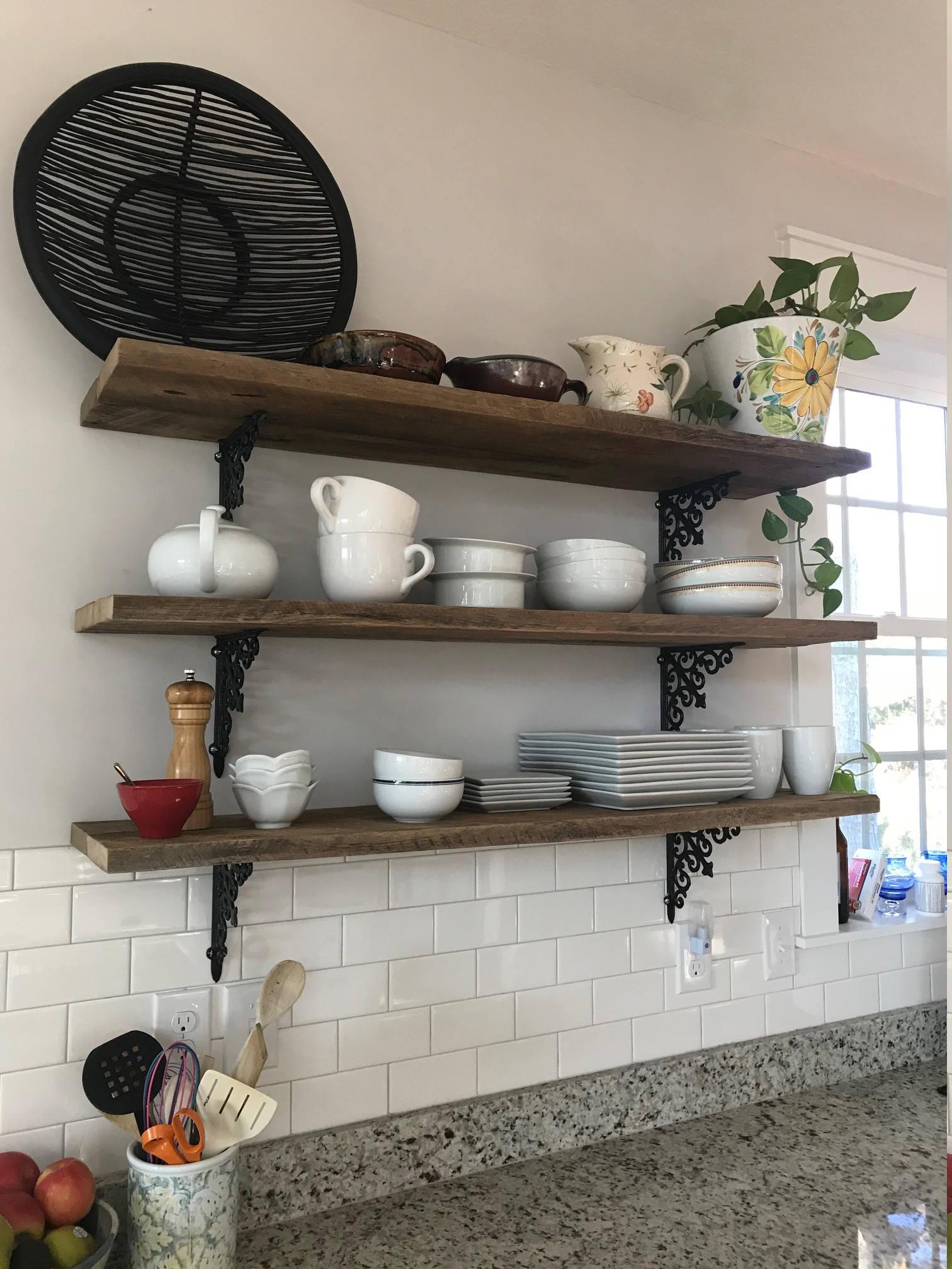 2 two 47 inch farmhouse barn wood shelves reclaimed