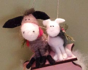 Donkey and Lamb on Sled Felted Wool Ornament - NEW for 2017