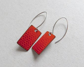 Orange Red Earrings - Ombre Earrings with Polka Dots - Long Orange Red Enamel Earrings